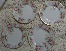 Set of 4 Haviland Limoges GDA France CH Field Wild  Pink Rose Gold Salad Plates