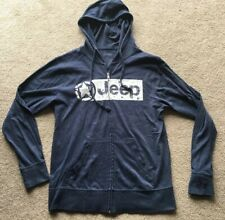 Jeep Full Zip Hoodie Lightweight Cotton/Polyester Blue Small S Sweatshirt Jacket