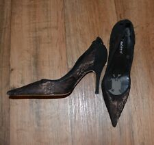 Lacey's Gold and Black Fabric and Leather Court Shoes. Size 5.5