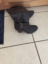 Women's Black Leather Boots Size 6.5
