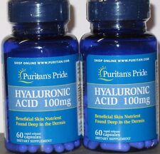 2X60 Puritan's Pride Hyaluronic Acid 100mg-120 Capsules  Joint & Skin Health