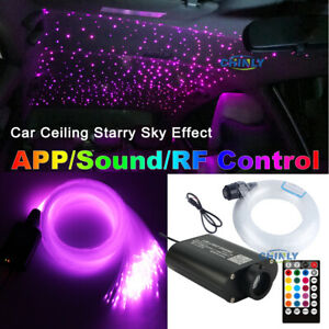 16W LED Fiber Optic Lights Smart Bluetooth Music Control Car Star Lighting
