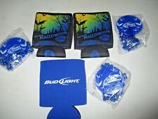 6 Piece HALLOWEEN 3 BUD LIGHT BEER Can Holder CREASED KOOZIES & 3 Bead Necklaces