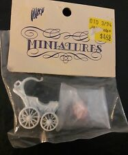 Vintage Miniature Dollhouse Furniture cast iron white carriage baby stroller NEW