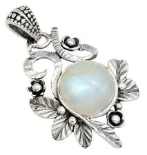 Rainbow Moon Stone Gemstone Pendant Solid 925 Sterling Silver Jewelry IP30145