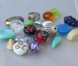 Assorted Czech Glass Beads 20 Pcs Peacock Turbine Moon Face Grape Bunch Wing