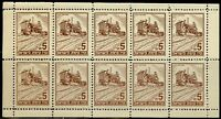 JEWISH  NATIONAL  FUND TRACTOR PANE OF TEN  MINT NEVER HINGED