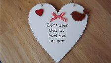Robins appear when lost loved ones are near wood heart sign plaque gift