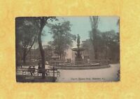NJ Hoboken 1914 antique postcard CHURCH SQUARE PARK JERSEY to Plainfield NY