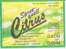 1 Etikett Berlin Spreequell , Citrus DDR