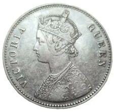 1862 BRITISH INDIA RUPEE KM 473.1 SILVER COIN QUEEN VICTORIA RIM DING