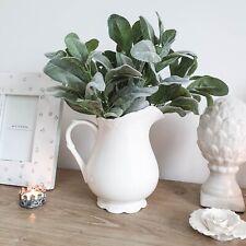 French Inspired Shabby Chic Vintage White Scalloped Jug Vase