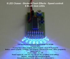 8 LED Ghostbusters Chaser - Strobe & Flash Effects - Speed controll - 3mm LEDs b