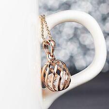 18k rose gold gp made with SWAROVSKI crystal pendant filigree ball necklace