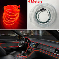 4m Optical Fiber Red Interior Ligh Car Truck Lamp Dash Trim Moulding LED Strip