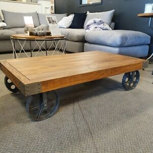 Re-Engineered Industrial Coffee Table with Wheels Mango Wood Home Interiors Acce