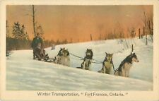 c1930 Dog Sled Team, Fort Francis, Ontario, Canada Postcard