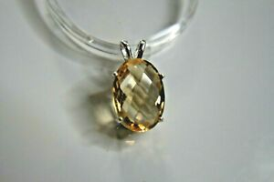 Natural earth-mined yellow citrine in a solid sterling silver pendant