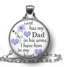 NECKLACE God Has My DAD In His Arms PENDANT In Memory Of Memorial Remembrance