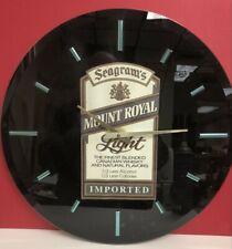 "Seagrams ~ Mount Royal Light ~ Clock ~ 18"" ~ Beveled Glass Face"