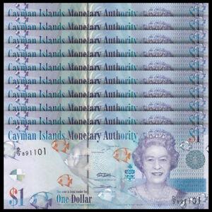 Lot 10 PCS, Cayman Islands 1 Dollar, 2010-2018, P-38, Banknotes, UNC