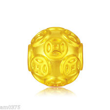 Authentic 999 24k Yellow Gold Pendant 3D Perfect Carved 12mm Lucky Coin DIY Bead