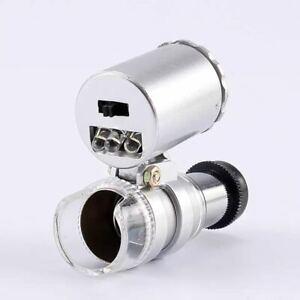 Microscope Glass Jewellery Magnifier UK 60x Mini Pocket LED UV Jewellers Loupe