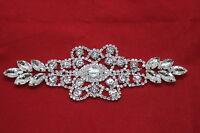 Silver Rhinestone Diamante Sew on Motif Crystal Applique Patch Bridal Wedding
