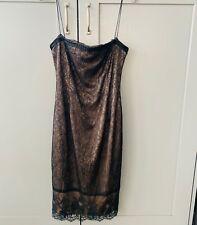 Zara Black Lace Strappy Pencil Dress Silk Lining Size Medium