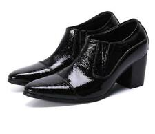 New Men Formal Real Leather Business Shoes Pointy Toe Oxfords Slip Highten Boots