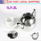 1.5/1L Stainless Steel Teapot Tea Pot Coffee Kettle With Tea Leaf Filter Infuser photo