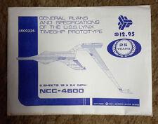 """Vintagw Star Trek Lynx Timeship Prototype Blueprint Set- 5 Sheets 18"""" x 24&#0 00004000 34;"""