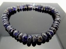 """Natural Blue Iolite Faceted Rondelle Gemstone Spacer Beads 6mm x 4mm 7"""" Strand"""