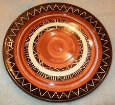 Mid Century Modern Retro Signed Ceramic Art Plate 1960's Brown Burnt Orange