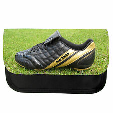 PERSONALISED FOOTBALL BOOT BOYS SCHOOL PENCIL CASE / MAKE UP BAG BIRTHDAY XMAS