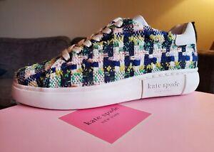 "Kate Spade New York ""Lift Fashion Sneakers"" Sienna Tweed Lace Up Juniper Multi"