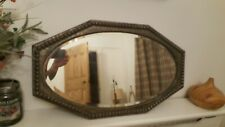 Vintage Metal Wall Mirror octagonal studded retro antique distressed bevelled