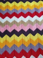 "Vtg 70's Handmade Chevron knit Afghan Blanket Throw Cream Brown orange 39"" x 66"""