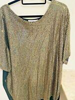 Women's  Gold  Sequined Paillettes  Top Plus Size 3X Bust 60  USA  EUC