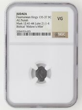 Ancient Widow's Mite Bronze 135-137 BC NGC with Story Card