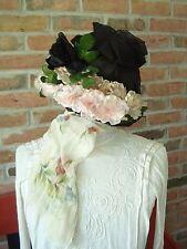 Vintage.Very Nice.Silk Pink Flowered.Black.Hat
