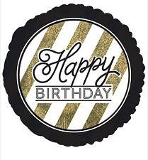 "Happy Birthday 18"" Balloon Birthday Party Decorations Gold & Black"