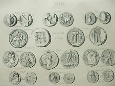 ANTIQUE PRINT C1880'S COINS ENGRAVING GRECIAN COINS ILLUSTRATED HISTORY MONEY