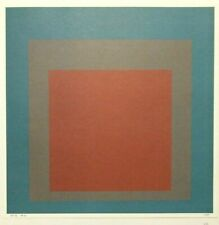 "JOSEF ALBERS mounted vintage repro print 14 x 14"" 1973 Homage to Square GK151"
