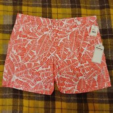 Hawaiian Swim Trunk Shorts Salmon Pink White Hibiscus Board Mesh Lined Ibiza