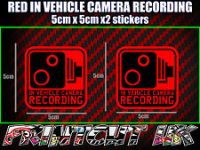 IN VEHICLE CAMERA RECORDING STICKERS X2 decal dash dvr car van bike truck bus R*