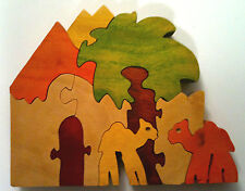 RARE . . . 3D Handmade Wooden Jigsaw Puzzle; Egypt Camels Under a Palm Tree