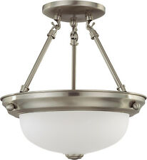 "Nuvo 2 Light 11"" Semi-Flush with Frosted White Glass"