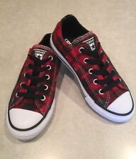 "CONVERSE ""All Star CT"" Junior Unisex Casino/Black Plaid Sneakers~~Size 12"