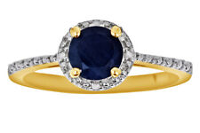 Womens Day Sapphire & Diamond Frame 14k Yellow Gold Silver Ring